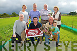 CHAMPION: Champion dog Floating Patriot with his owners and nominator who was the winner of the Stephen Fuller Memorial Cup & Replica sponsored by The Fuller Family on Sunday at Kilflynn Coursing. Front l-r: Stephen Fuller, Colin,Joe and Shane Wallace (owner) Back l-r: Maireád Wallace, Timothy Horan, Jimmy Browne (nominator) and Mary Fuller.