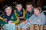 BOYS: Getting ready for the questions at the Chapter 23 School table quiz in Ballyroe Heights Hotel, Tralee on Sunday were pupils from Lixnaw Boys NS, L-r: Darragh Shannon, Tommy Kelly, Paul Stack and Niall Cullen. .................. . ............................... ..........