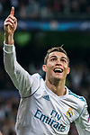 Cristiano Ronaldo of Real Madrid celebrates his second goal during the UEFA Champions League 2017-18 Round of 16 (1st leg) match between Real Madrid vs Paris Saint Germain at Estadio Santiago Bernabeu on February 14 2018 in Madrid, Spain. Photo by Diego Souto / Power Sport Images