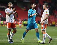 Blackpool's Mark Howard embraces Oliver Turton (right) at the final whistle<br /> <br /> Photographer David Shipman/CameraSport<br /> <br /> The EFL Sky Bet League One - Charlton Athletic v Blackpool - Saturday 16th February 2019 - The Valley - London<br /> <br /> World Copyright © 2019 CameraSport. All rights reserved. 43 Linden Ave. Countesthorpe. Leicester. England. LE8 5PG - Tel: +44 (0) 116 277 4147 - admin@camerasport.com - www.camerasport.com