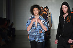 Models walk runway in outfits from the Royal Vision Spring Summer 2020 collection by Edward Harris at Cope NYC, on October 12, 2019, during Fashion Week Brooklyn Spring Summer 2020.