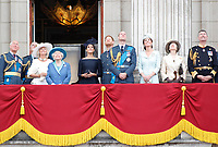 Prince Charles, Camilla Duchess of Cornwall, Prince Andrew, HM Queen Elizabeth II, Meghan Duchess of Sussex, Prince Harry, Prince William, Catherine Duchess of Cambridge, Princess Anne on the balcony of Buckingham Palace<br /> The Royal Family watch RAF centenary fly-past at Buckingham Palace, The Mall, London, England on July 10, 2018.<br /> CAP/GOL<br /> &copy;GOL/Capital Pictures