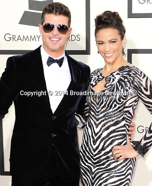 Pictured: Robin Thicke_Paula Patton<br /> Mandatory Credit &copy; Adhemar Sburlati/Broadimage<br /> The Grammy Awards  2014 - Arrivals<br /> <br /> 1/26/14, Los Angeles, California, United States of America<br /> <br /> Broadimage Newswire<br /> Los Angeles 1+  (310) 301-1027<br /> New York      1+  (646) 827-9134<br /> sales@broadimage.com<br /> http://www.broadimage.com