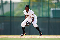 GCL Pirates third baseman Ke'Bryan Hayes (6) during the first game of a doubleheader against the GCL Yankees 2 on July 31, 2015 at the Pirate City in Bradenton, Florida.  GCL Pirates defeated the GCL Yankees 2 2-1.  (Mike Janes/Four Seam Images)