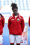 26 October 2014: Khadidra Debessete (TRI). The Trinidad & Tobago Women's National Team played the Mexico Women's National Team at PPL Park in Chester, Pennsylvania in the 2014 CONCACAF Women's Championship Third Place game. Mexico won the game 4-2 after extra time. With the win, Mexico qualified for next year's Women's World Cup in Canada and Trinidad & Tobago face playoff for spot against Ecuador.