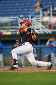 Batavia Muckdogs catcher Jarett Rindfleisch (44) at bat during a game against the Hudson Valley Renegades on August 2, 2016 at Dwyer Stadium in Batavia, New York.  Batavia defeated Hudson Valley 2-1. (Mike Janes/Four Seam Images)