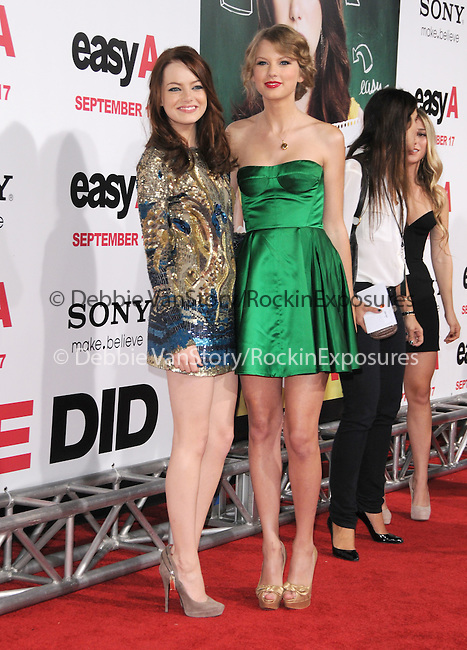 """Emma Stone & Taylor Swift at the Screen Gems' L.A. Premiere of """"Easy A"""" held at The Grauman's Chinese Theatre in Hollywood, California on September 13,2010                                                                               © 2010 Hollywood Press Agency"""
