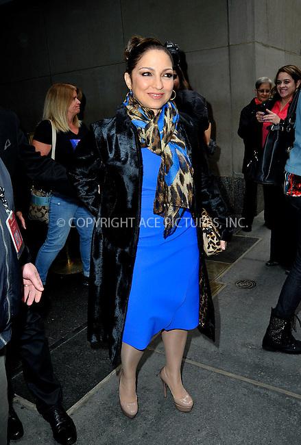 WWW.ACEPIXS.COM<br /> <br /> April 13 2015, New York City<br /> <br /> Musician Gloria Estefan leaving the studios of 'The Today Show' on April 13 2015 in New York City<br /> <br /> By Line: Curtis Means/ACE Pictures<br /> <br /> <br /> ACE Pictures, Inc.<br /> tel: 646 769 0430<br /> Email: info@acepixs.com<br /> www.acepixs.com