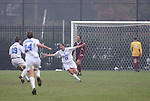 Duke's Lorraine Quinn (13) reacts after scoring a goal past midfielder turned goalkeeper Kelly Rowland (0) for the game's final goal on Sunday, October 22nd, 2006 at Koskinen Stadium in Durham, North Carolina. The Duke Blue Devils defeated the Florida State University Seminoles 3-1 in an Atlantic Coast Conference NCAA Division I Women's Soccer game.