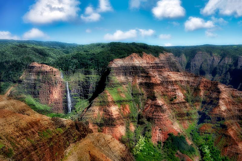 Waimea Canyon with waterfalls. Kauai, Haraii.