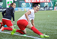 Portland, OR - Wednesday June 28, 2017: Christine Sinclair, Meleana Shim during a regular season National Women's Soccer League (NWSL) match between the Portland Thorns FC and FC Kansas City at Providence Park.