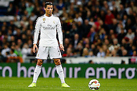 01.03.2015. Madrid, Spain. La Liga football. Real Madrid versus Villareal at the Santiago Bernabeu stadium. Cristiano Ronaldo dos Santos Forward of Real Madrid  steps up to take the penalty after he was pulled down in the box