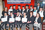 The Killarney Court Hotel group who received their FRS Training Limited Fetec 5 healthcare course certificates   from Minister Jimmy Deenihan at their Graduation ceremony in the River Island Hotel, Castleisland on Friday evening front row l-r: Armond Perez, Geraldine Kelleher, Eileen Hallissey, Frances Moriarty, Ger Deasey, Mairead Hickey. Back row: Annika Hasenkamp, Helen Friel, McSweeney, Eilish Culloty, Kathleen Cahill, Barbara Dillon, Sheila Flynn, Jane O'Donovan, Barbara Kavanagh, Jim Dockery and Deborah Coffey..