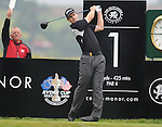 Scott Strange tees off on the 1st on day 4. Celtic Manor Wales Open 2008 © IJC Photography 2008, iancook@ijcphotography.co.uk..