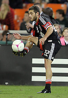 WASHINGTON, DC - OCTOBER 20, 2012:  Chris Kolb (22) of D.C United pulls in a cross against the Columbus Crew during an MLS match at RFK Stadium in Washington D.C. on October 20. D.C United won 3-2.