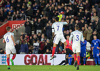 Lewis Baker (7) (Vitesse (on loan from Chelsea) of England celebrates scoring the equalising goal during the Under 21 International Friendly match between England and Italy at St Mary's Stadium, Southampton, England on 10 November 2016. Photo by Andy Rowland.