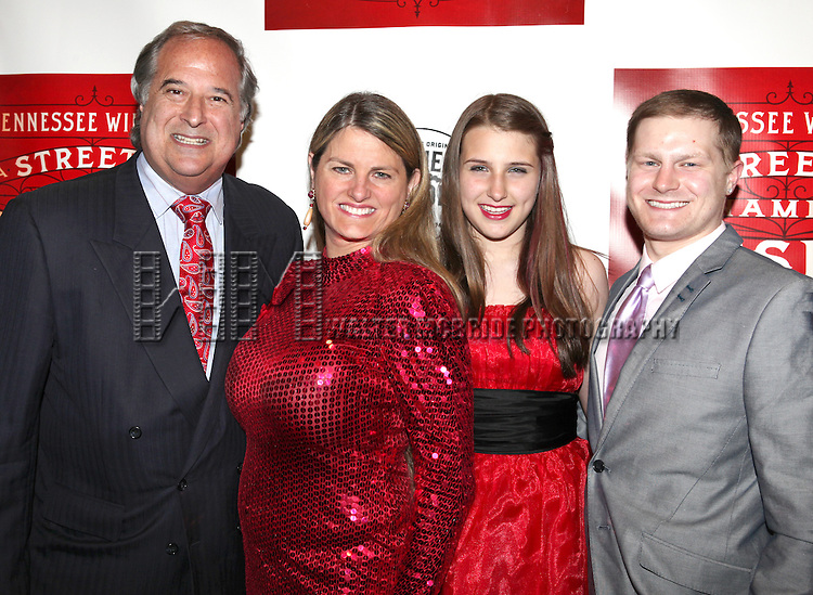 Stewart F. Lane, Bonnie Comley and family.attending the Broadway Opening Night Performance of 'A Streetcar Named Desire' at the Broadhurst Theatre on 4/22/2012 in New York City.