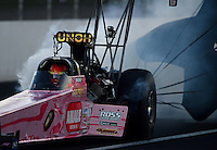 Nov. 10, 2012; Pomona, CA, USA: NHRA top fuel dragster driver Terry McMillen during qualifying for the Auto Club Finals at at Auto Club Raceway at Pomona. Mandatory Credit: Mark J. Rebilas-