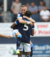 Huddersfield Town's Florent Hadergjonaj and Terence Kongolo celebrate their side's first goal scored by Karlan Grant<br /> <br /> Photographer Rob Newell/CameraSport<br /> <br /> The EFL Sky Bet Championship - Luton Town v Huddersfield Town - Saturday 31 August 2019 - Kenilworth Stadium - Luton<br /> <br /> World Copyright © 2019 CameraSport. All rights reserved. 43 Linden Ave. Countesthorpe. Leicester. England. LE8 5PG - Tel: +44 (0) 116 277 4147 - admin@camerasport.com - www.camerasport.com