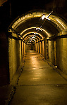 Long corridor German Underground Military hospital, Guernsey, Channel Islands, UK