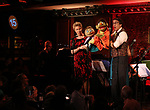 Gary Adler, Jennifer Barnhart and Rick Lyon during the 'Avenue Q' 15th Anniversary Reunion Concert at Feinstein's/54 Below on July 30, 2018 in New York City.