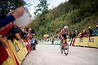 Thomas de Gendt (BEL/Lotto-Soudal) up the gravel section in the final stretch to the finish line up La Planche des Belles Filles<br /> <br /> Stage 6: Mulhouse to La Planche des Belles Filles (157km)<br /> 106th Tour de France 2019 (2.UWT)<br /> <br /> ©kramon