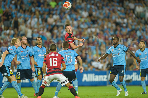 20.02.2016. Allianz Stadium, Sydney, Australia. Hyundai A-League. Sydney FC versus Western Sydney Wanderers. Wanderers defender Scott Neville sees his header go wide. The game ended in a 1-1 draw.