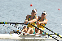 Poznan, POLAND,  AUS W2X, Bow, Sally KEYOE and Phillipa SAVAGE, competing in the heats of the women's double sculls, on the first day of the, 2009 FISA World Rowing Championships. held on the Malta Rowing lake, Sunday 23/08/2009 [Mandatory Credit. Peter Spurrier/Intersport Images]