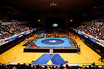 CLEVELAND, OH - MARCH 10: The stage is set for competition to begin at the Division III Men's Wrestling Championship held at the Cleveland Public Auditorium on March 10, 2018 in Cleveland, Ohio. (Photo by Jay LaPrete/NCAA Photos via Getty Images)