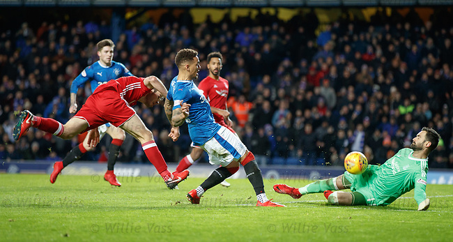 James Tavernier has his shot saved by Joe Lewis