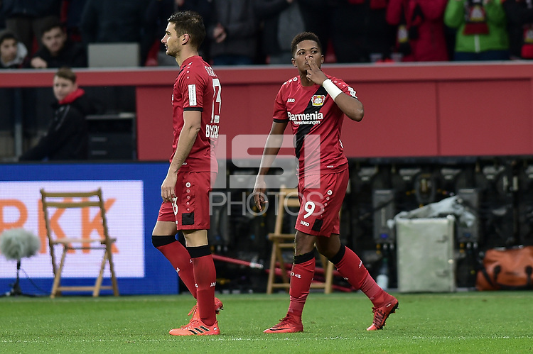 Football : Germany -1. Bundesliga  2017/18 <br /> Bayer Leverkusen 04 vs Mainz <br /> 28/01/2018 - Leon Bailey ( Bayer 04 Leverkusen) scores *** Local Caption *** &copy; pixathlon<br /> Contact: +49-40-22 63 02 60 , info@pixathlon.de