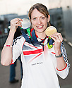 Scots athlete Eilidh Child returns to Edinburgh Airport with her Gold and Silver medals which she won at the European Indoor Championships in Gothenburg.