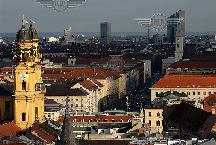 A view across the rooftops of central Munich from the vantage point of the Alter Peter (St. Peter's Church) tower.