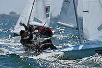470 / Markus SOMERVILLE - Taylor BALOGH (NZL)<br /> ISAF Sailing World Cup Final - Melbourne<br /> St Kilda sailing precinct, Victoria<br /> Port Phillip Bay Tuesday 6 Dec 2016<br /> &copy; Sport the library / Jeff Crow
