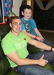 25/10/2014.   Munster Rugby's Tommy O'Donnell an ambassador of iCAN (Irish Childrens Arthritis Network)photographed on Saturday in Kids Town, Gillogue with Kai Ryan(10), Moyross.<br /> Picture: Liam Burke/Press 22
