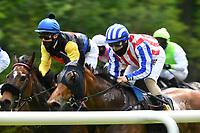 10.05.2020, Hoppegarten, Brandenburg, Germany;  Jockeys wearing masks at the Berlin Hoppegarten Gallop