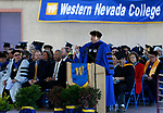 Western Nevada College President Vincent Solis speaks at the commencement ceremony in Carson City, Nev., on Monday, May 20, 2019. <br /> Photo by Cathleen Allison/Nevada Momentum