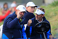 Thomas Bjorn (CaptainTeam Europe) on the 7th tee during Friday Fourball at the Ryder Cup, Le Golf National, Iles-de-France, France. 28/09/2018.<br /> Picture Thos Caffrey / Golffile.ie<br /> <br /> All photo usage must carry mandatory copyright credit (© Golffile | Thos Caffrey)