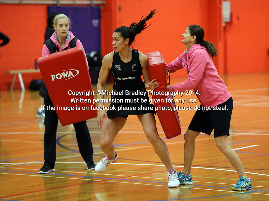 30.10.2014 Silver Ferns Grace Rasmussen in action during training ahead of the second test match in Palmerston North. Mandatory Photo Credit ©Michael Bradley.