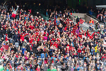 Glenbeigh Glencar supporters celebrate their victory over Rock Saint Patricks in the Junior Football All Ireland Final in Croke Park on Sunday.