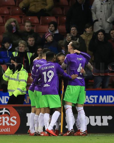 8th December 2017, Bramall Lane, Sheffield, England; EFL Championship football, Sheffield United versus Bristol City; Jamie Paterson of Bristol City celebrates his goal with team mates in the 43rd minute to make it 0-1