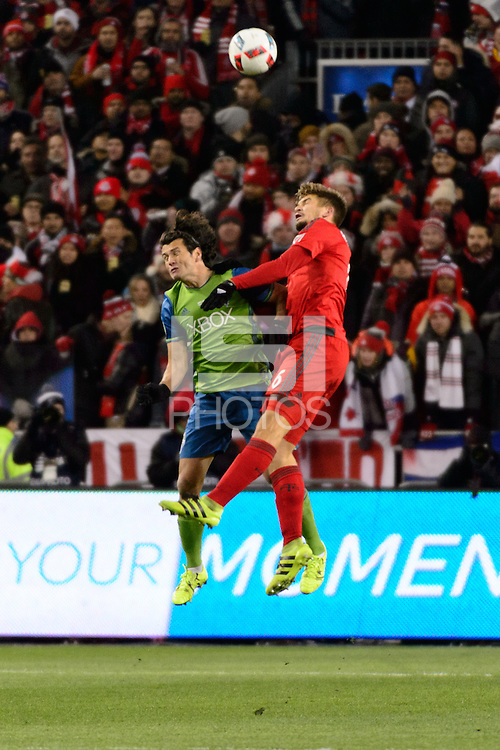 Toronto, ON, Canada - Saturday Dec. 10, 2016: Nelson Valdez, Nick Hagglund during the MLS Cup finals at BMO Field. The Seattle Sounders FC defeated Toronto FC on penalty kicks after playing a scoreless game.