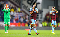 Burnley's Matthew Lowton applauds the fans after the match<br /> <br /> Photographer Alex Dodd/CameraSport<br /> <br /> UEFA Europa League - Europa League Qualifying Round 2 2nd Leg - Burnley v Aberdeen - Thursday 2nd August 2018 - Turf Moor - Burnley<br />  <br /> World Copyright © 2018 CameraSport. All rights reserved. 43 Linden Ave. Countesthorpe. Leicester. England. LE8 5PG - Tel: +44 (0) 116 277 4147 - admin@camerasport.com - www.camerasport.com