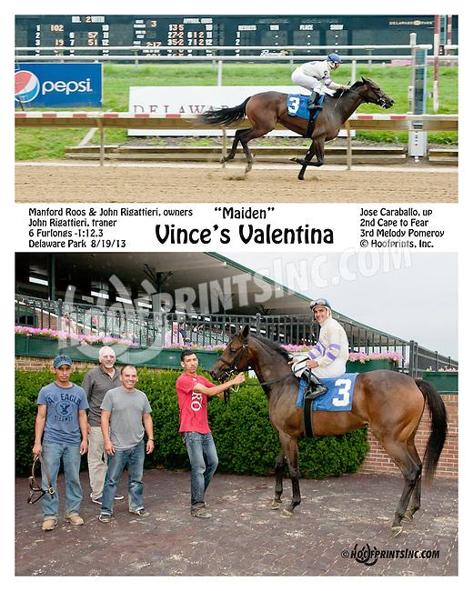 Vince's Valentina winning at Delaware Park on 8/19/13