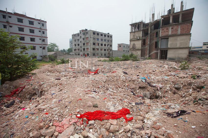 Rana Plaza collapse site in Savar, near Dhaka, Bangladesh