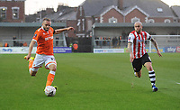 Blackpool's Ryan McLaughlin under pressure from Exeter City's Nicky Law<br /> <br /> Photographer Kevin Barnes/CameraSport<br /> <br /> Emirates FA Cup First Round - Exeter City v Blackpool - Saturday 10th November 2018 - St James Park - Exeter<br />  <br /> World Copyright © 2018 CameraSport. All rights reserved. 43 Linden Ave. Countesthorpe. Leicester. England. LE8 5PG - Tel: +44 (0) 116 277 4147 - admin@camerasport.com - www.camerasport.com