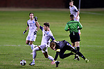 GREENSBORO, NC - DECEMBER 02: Dakota Rosenberg #15 of Messiah College battles Matias Warp #17 of North Park University during the Division III Men's Soccer Championship held at UNC Greensboro Soccer Stadium on December 2, 2017 in Greensboro, North Carolina. Messiah College defeated North Park University 2-1 to win the national title. (Photo by Grant Halverson/NCAA Photos via Getty Images)