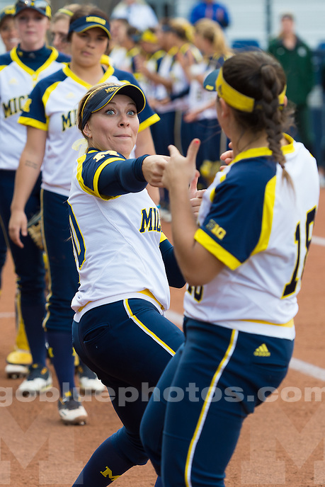 The University of Michigan softball team beats MSU, 8-0, in five innings at Alumni Field in Ann Arbor on April 19, 2016.