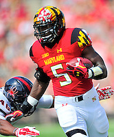 Terrapins' Wes Brown Maryland sprints past a defender. Maryland defeated Richmond 50-21 during home season opener at the Byrd Stadium in College Park, MD on Saturday, September 5, 2015.  Alan P. Santos/DC Sports Box