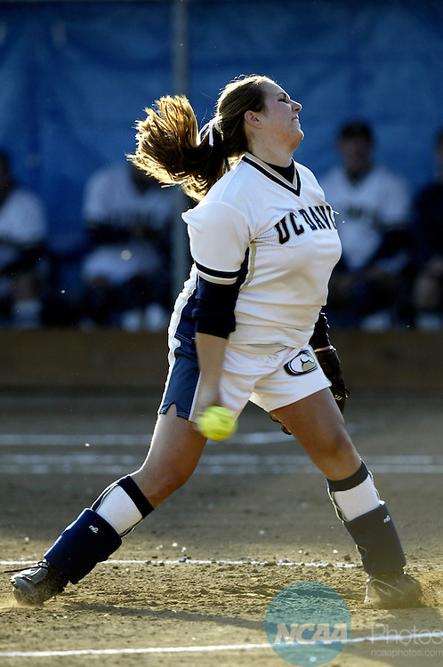 18 MAY 2003:  Pitcher Amy Rosson (18) of UC Davis pitches a complete game victory against Georgia College & State University during the Division 2 Women's Softball Championship held at the Wallace Sports Complex in Salem, OR.  UC Davis defeated Georgia College 7-0 for the national title.  Jamie Schwaberow/NCAA Photos
